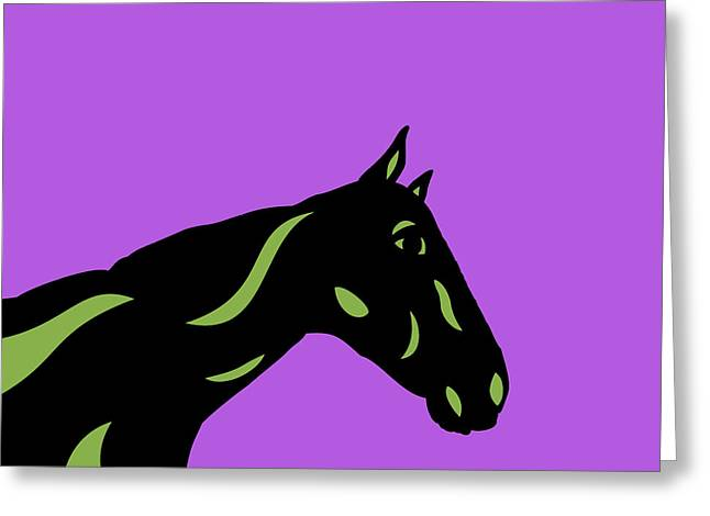 Crimson - Pop Art Horse - Black, Greenery, Purple Greeting Card