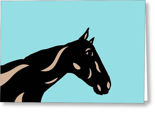 Crimson - Pop Art Horse - Black, Hazelnut, Island Paradise Blue Greeting Card