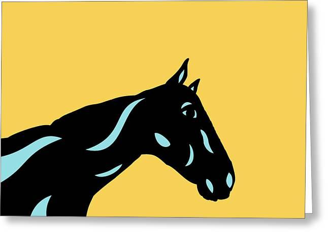 Crimson - Pop Art Horse - Black, Island Paradise Blue, Primrose Yellow Greeting Card