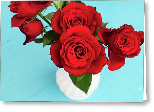 Crimson Roses Greeting Card by Happy Home Artistry
