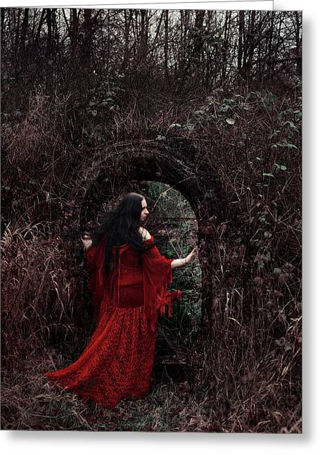 Crimson Witch Greeting Card by Cambion Art
