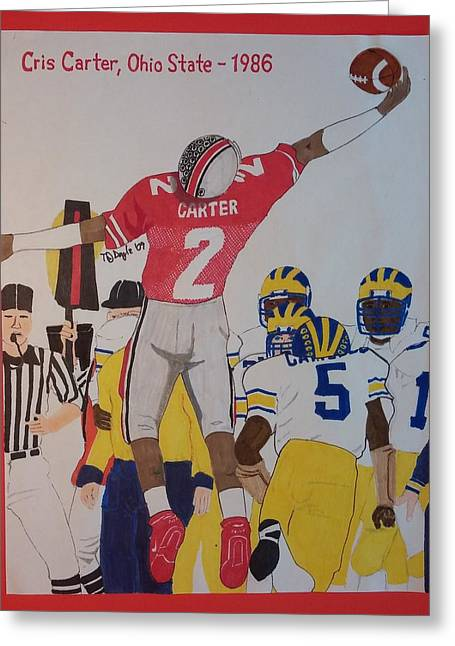 Cris Carter - Ohio State Greeting Card by TJ Doyle