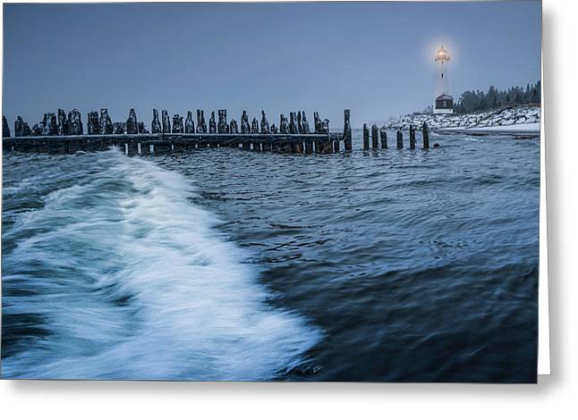 Crisp Point Lighthouse On Lake Superior Greeting Card