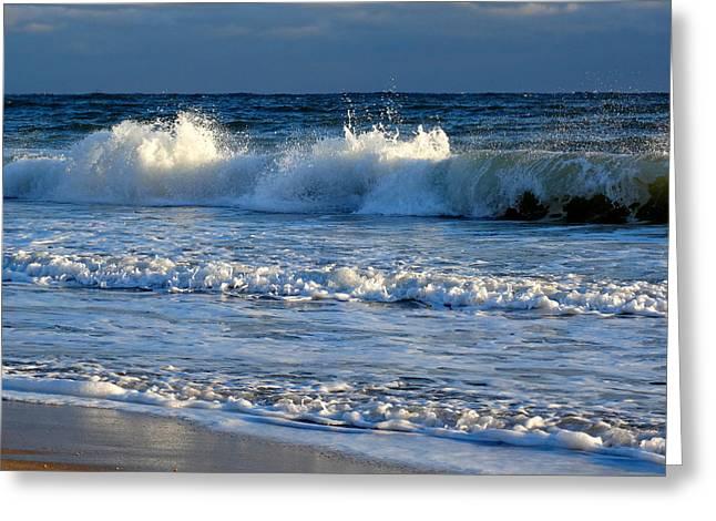 Crisp Winter Light On Waves Greeting Card by Dianne Cowen