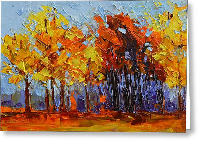 Crispy Autumn Day Landscape Forest Trees - Modern Impressionist Knife Palette Oil Painting Greeting Card by Patricia Awapara
