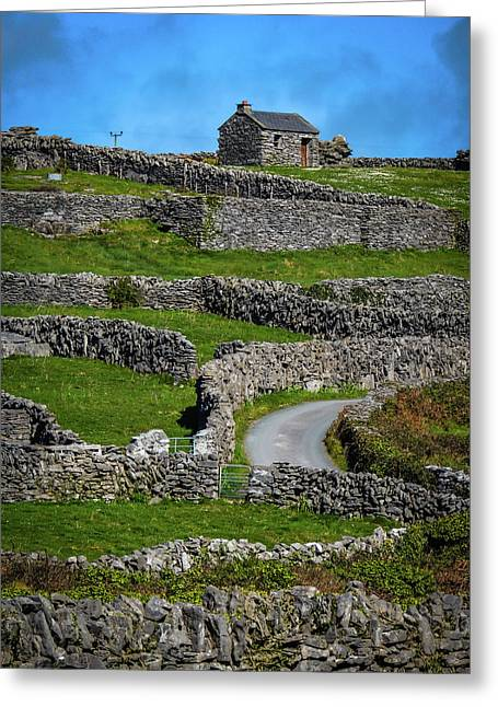 Greeting Card featuring the photograph Criss-crossed Stone Walls Of Inisheer by James Truett