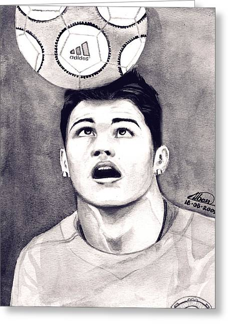 Cristiano Ronaldo Greeting Card by Alban Dizdari