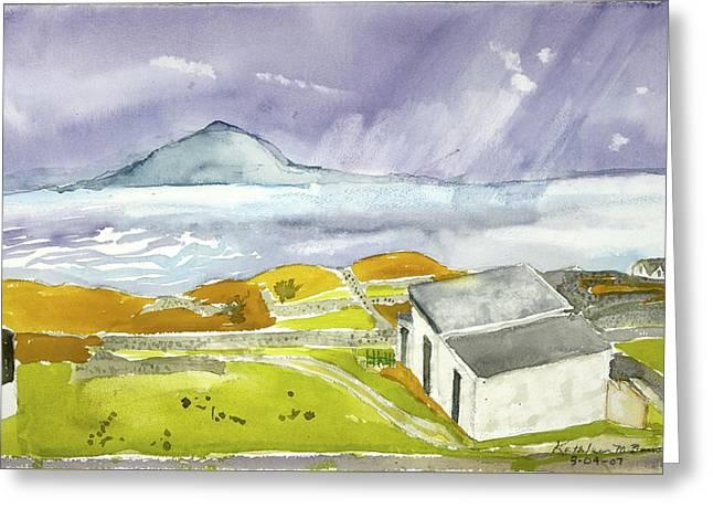 Croagh Patrick And Purple Sky Greeting Card