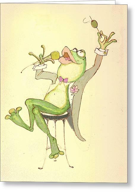 Croaky Karaoke Greeting Card by Peggy Wilson