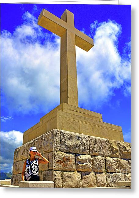 Dubrovnik Massive Stone Cross Of Peace On Srd Hill Summit Next To Greeting Card by Wilf Doyle