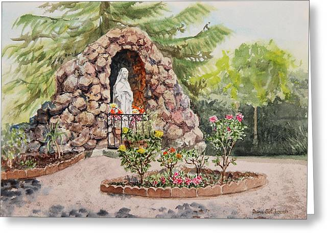 Sacred Paintings Greeting Cards - Crockett California Saint Rose Of Lima Church Grotto Greeting Card by Irina Sztukowski