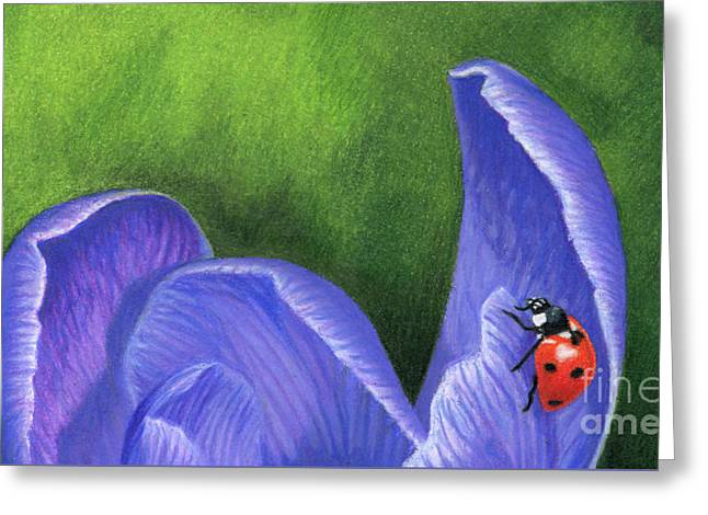 Crocus And Ladybug Detail Greeting Card