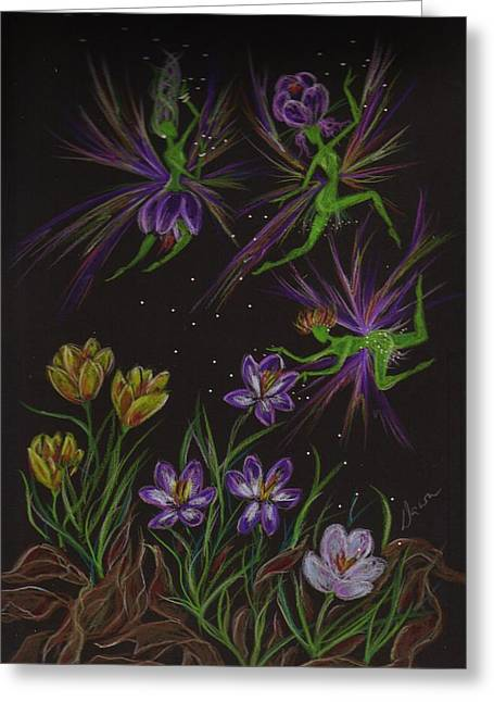 Greeting Card featuring the drawing Crocus by Dawn Fairies