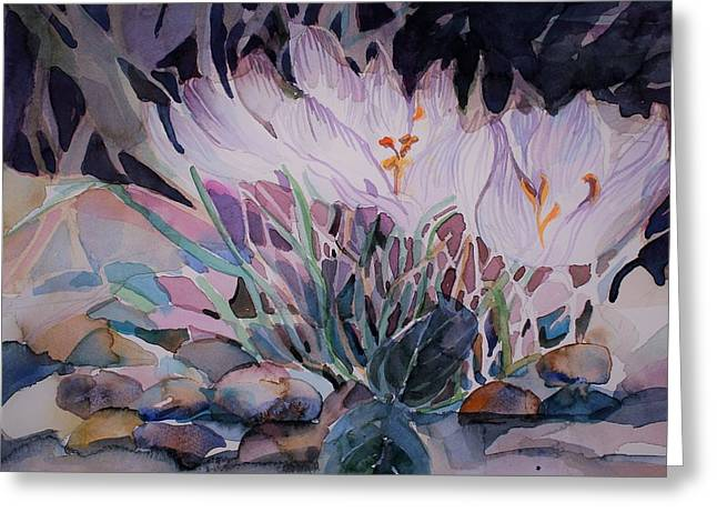 Greeting Card featuring the painting Crocuses by Mindy Newman
