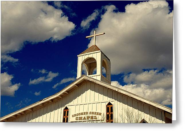 Crooked Creek Chapel Greeting Card by Susanne Van Hulst