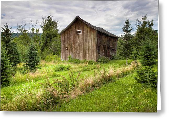 Greeting Card featuring the photograph Crooked Old Barn On South 21 - Finger Lakes New York State by Gary Heller
