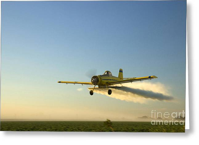 Crop Duster Sprays A Field Greeting Card by Inga Spence