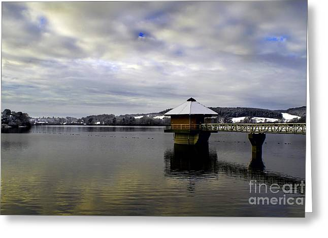 Cropston Reservoir And Bradgate Park In The Snow Greeting Card by Linsey Williams