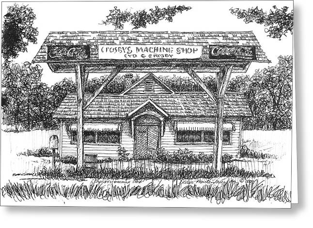 Pen And Ink Rural Drawings Greeting Cards - Crosbys Machine Shop Greeting Card by Peter Muzyka