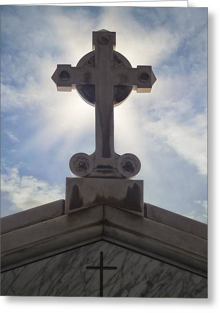 Cross Against The Sky Greeting Card by Joana Kruse