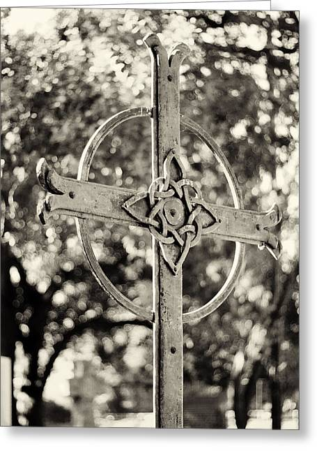 Cross At Dublin Pioneer Cemetery Greeting Card by Troy Montemayor