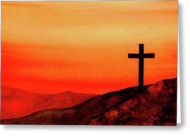 Cross At Sunset Greeting Card by Michael Vigliotti