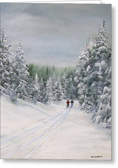 Greeting Card featuring the painting Cross Country Skiers by Ken Ahlering