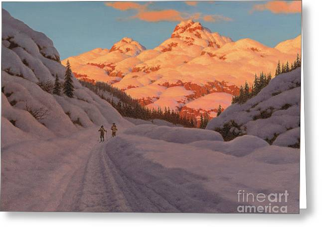 Cross Country Skiing, Haute Savoie Greeting Card by Ivan Fedorovich Choultse