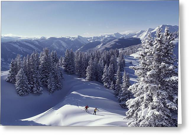 Cross-country Skiing In Aspen, Colorado Greeting Card by Annie Griffiths