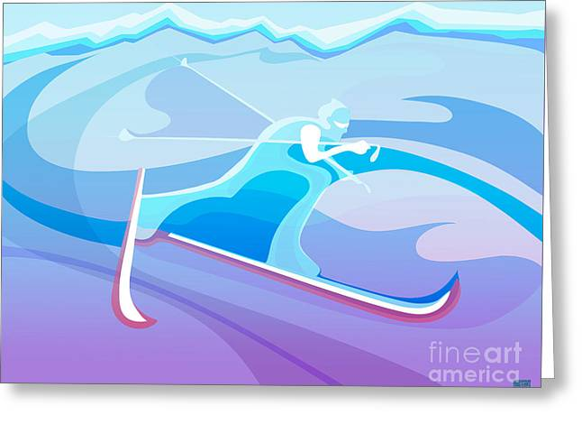 Cross County Skier Abstract Greeting Card