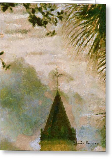 Cross In Distance  Greeting Card by Nada Frazier