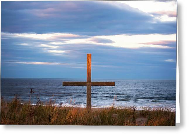 Greeting Card featuring the photograph Cross Light Square by Terry DeLuco