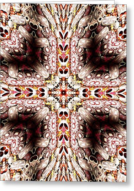 Cross Of Wooden Beads Warp Abstract Greeting Card