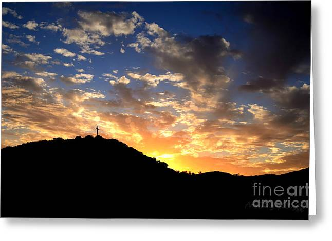 Cross On A Hill Greeting Card by Sharon Soberon