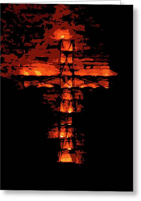 Cross On Fire Greeting Card by Andrea Mazzocchetti