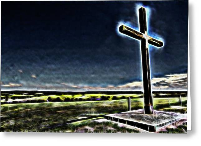 Greeting Card featuring the photograph Cross On The Hill by Douglas Barnard