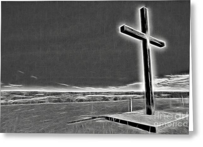 Greeting Card featuring the photograph Cross On The Hill V2 by Douglas Barnard
