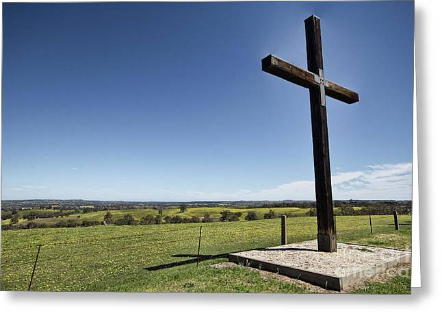 Greeting Card featuring the photograph Cross On The Hill V3 by Douglas Barnard