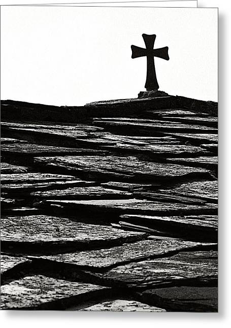 Debarred Greeting Cards - Cross on the roof Greeting Card by Marjan Jankovic
