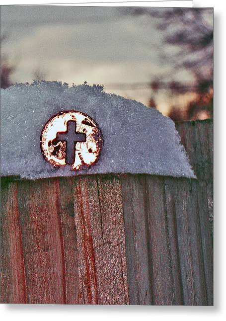 Photoshop Paintings Greeting Cards - Cross Penny  Greeting Card by Jon Baldwin  Art