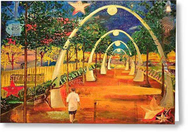 Cross Roads Klyde Warren Park Greeting Card by Katrina Rasmussen