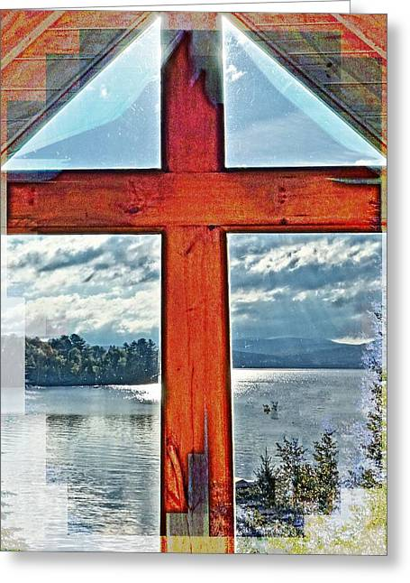 Cross Window Lake View  Greeting Card