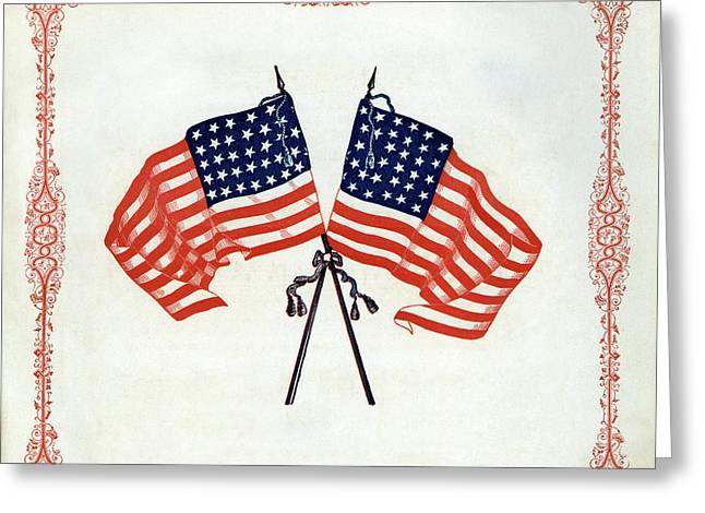 Crossed Civil War Union Flags 1861 Greeting Card