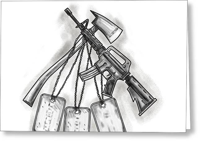 Crossed Fire Ax And M4 Rifle Dog Tags Tattoo Greeting Card