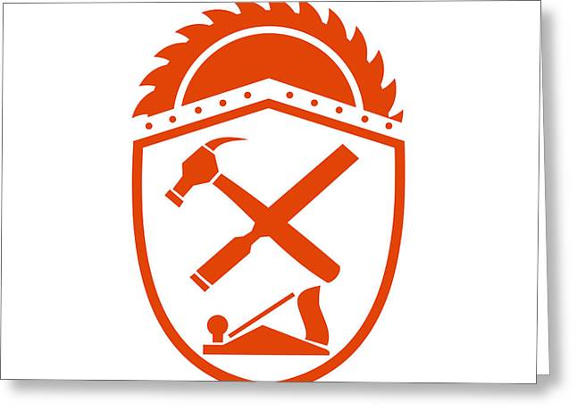 Crossed Hammer And Rasp Tools Crest Retro Greeting Card