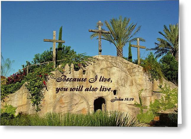 Crosses And Resurrection Greeting Card