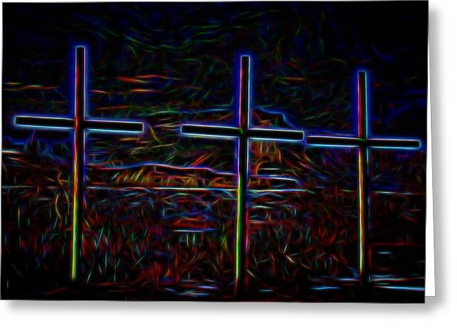 Crosses Under The Bluff Greeting Card by Tim Abshire