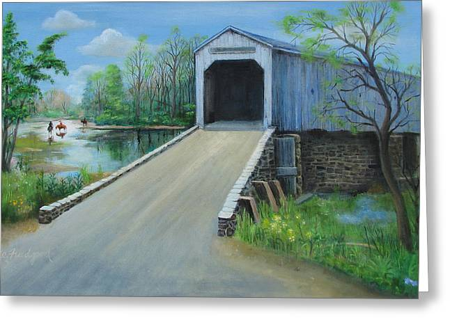 Greeting Card featuring the painting Crossing At The Covered Bridge by Oz Freedgood