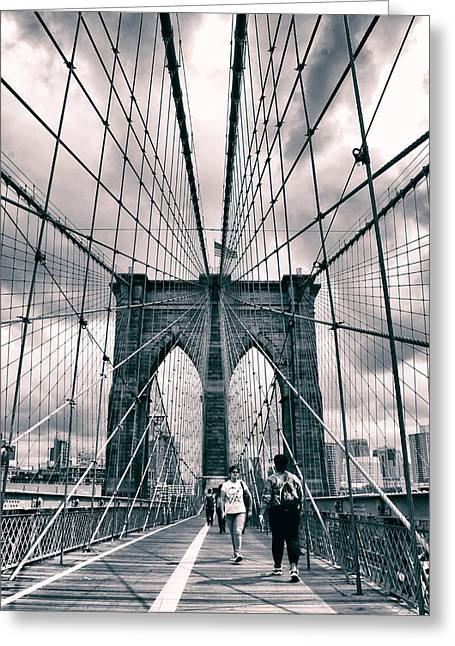 Crossing Brooklyn Bridge Greeting Card by Jessica Jenney