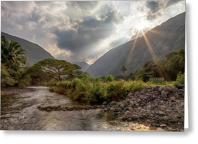 Greeting Card featuring the photograph Crossing Hiilawe Stream by Susan Rissi Tregoning